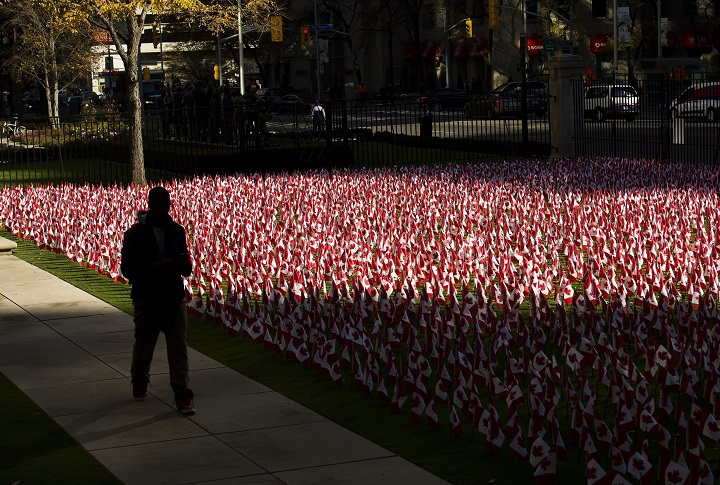 A man is silhouetted as he walks past thousands of Canadian flags placed in honour of Remembrance Day in Toronto on Monday, November 9, 2015.