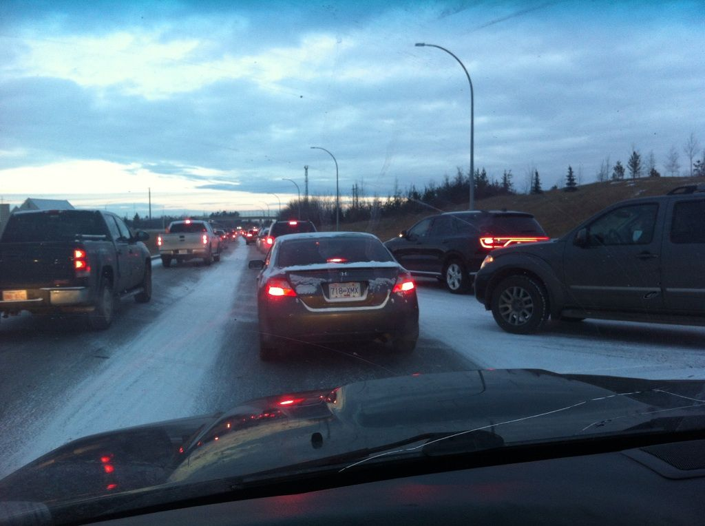 There was a major traffic jam on Terwillegar Drive following a light snowfall in Edmonton, Thursday, Nov. 19, 2015.