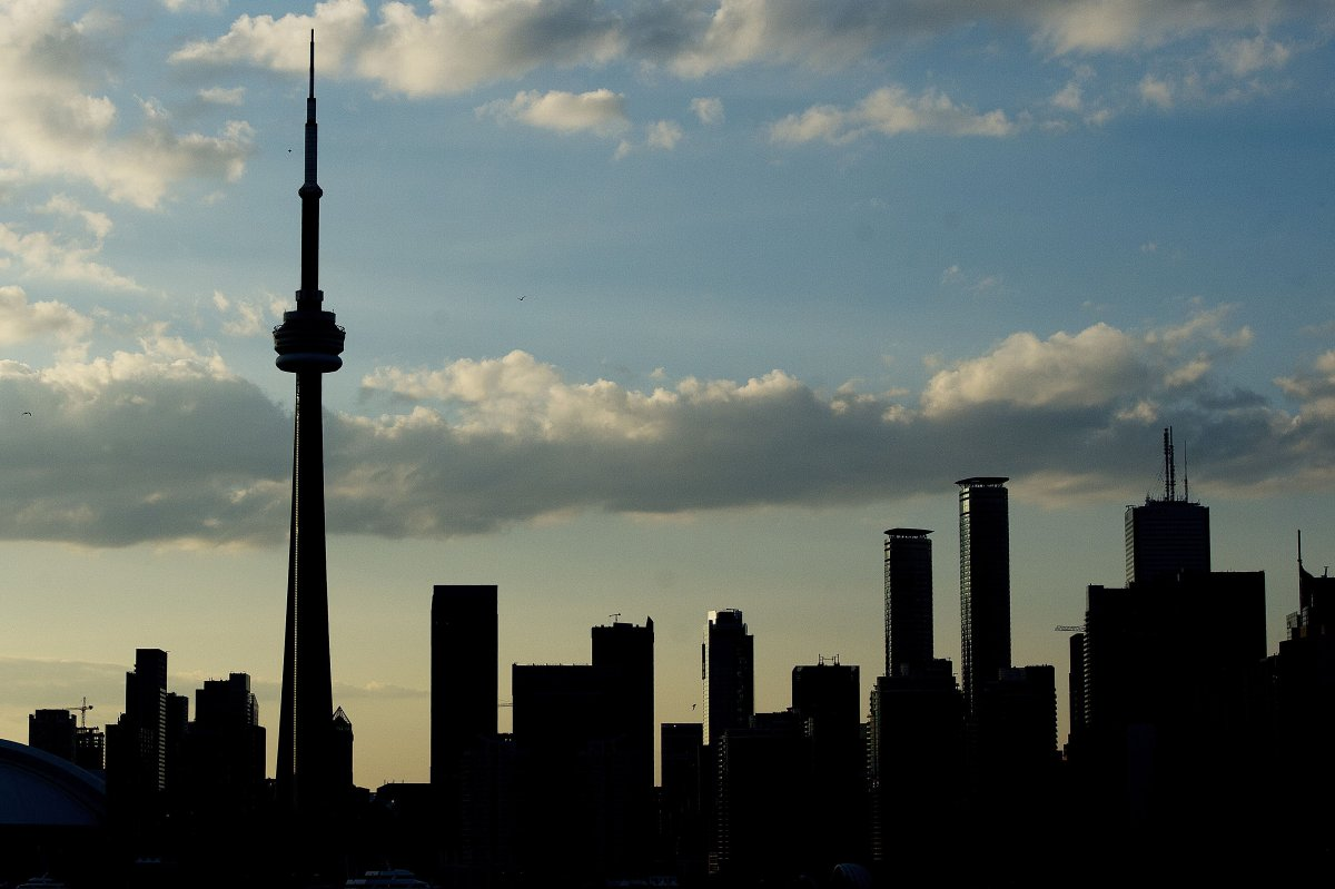 A silhouetted view of the skyline in Toronto, Ontario, on  July 10, 2015.