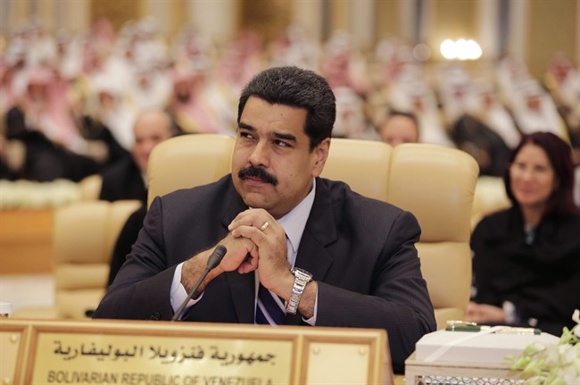 Venezuelan President Nicolas Maduro participates during a summit of Arab and South American leaders in Riyadh, Saudi Arabia, Tuesday, Nov. 10, 2015. The two-day summit beginning Tuesday aims to improve coordination among political leaders and civil society groups in the two regions, focusing on economics, science and technology, the environment and social and cultural affairs.