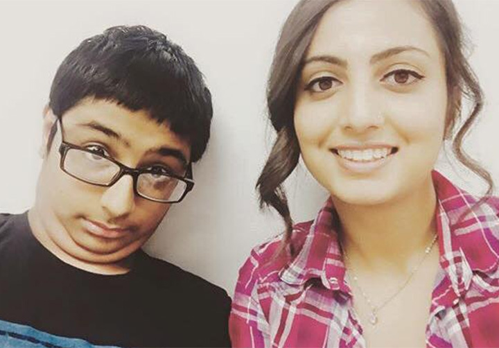"Armaan Singh, left, and his cousin Ginee Haer. Singh was arrested last week after a ""bully"" allegedly reported the student had a bomb in his backpack and made a threat towards their school."