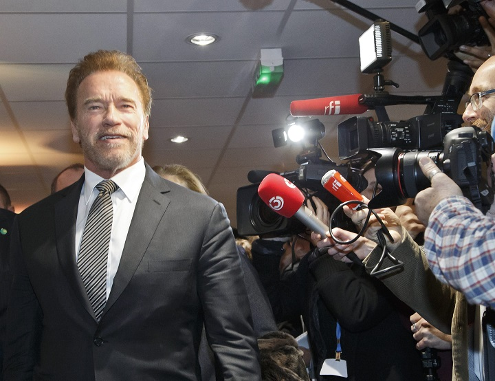 "Former U.S. California Governor Arnold Schwarzenegger arrives to meet French Foreign Minister Laurent Fabius at the COP21, United Nations Climate Change Conference in Le Bourget, north of Paris, Tuesday, Dec. 8, 2015. The United Nations secretary-general called for a clean energy revolution to avoid a ""climate catastrophe"" as talks on a global warming pact entered their final week."