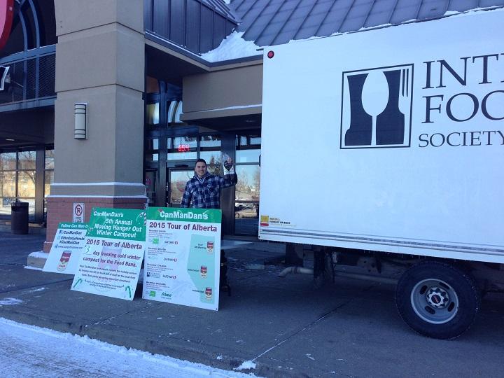 Can Man Dan setting up for his Alberta Food Tour.
