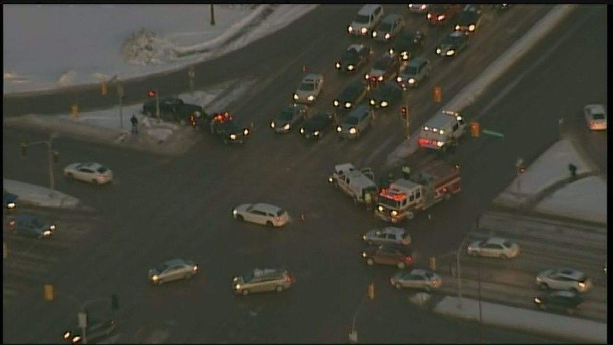 Traffic backed up at Regent Avenue and Lagimodiere Boulevard after a three vehicle crash.