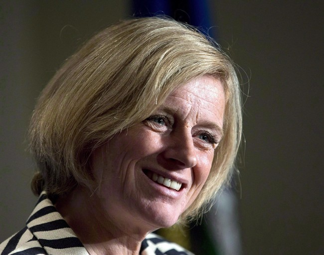 Alberta Premier Rachel Notley speaks following a business luncheon in Calgary on Oct. 9, 2015. Notley is looking ahead to her first full year as premier.
