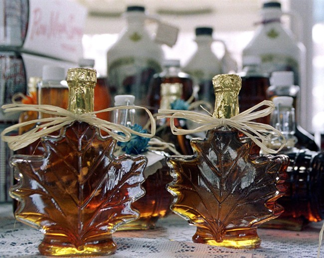 Maple syrup sits for sale at the Old Port market in Quebec City.