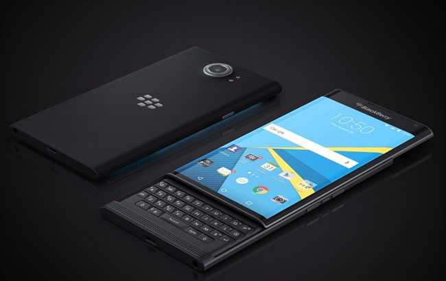 The BlackBerry Priv is shown in an undated, handout photo.