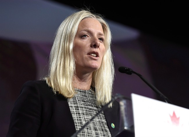 Minister of Environment and Climate Change Catherine McKenna delivers the keynote address at the Canada 2020 conference, in Ottawa, on Friday, Nov. 20, 2015.