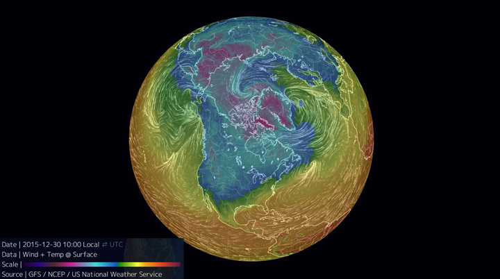 A map illustrating the temperature and winds over the northern hemisphere.