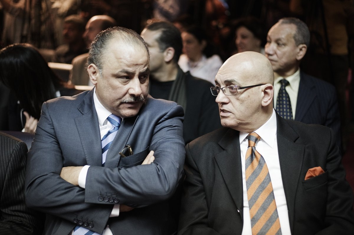 Egyptian human rights activist Nasser Amin (L) and journalist and writer Mohammed Solmawi (R) attend a press conference at the Journalist Syndicate headquarters in the capital Cairo.