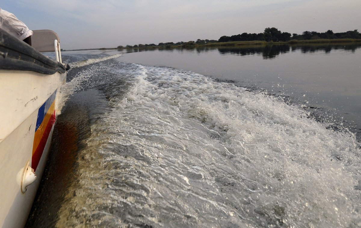 A boat of the Chadian police sails on Lake Chad which borders Chad, Nigeria, Niger and Cameroon, in Bol on January 25, 2015.