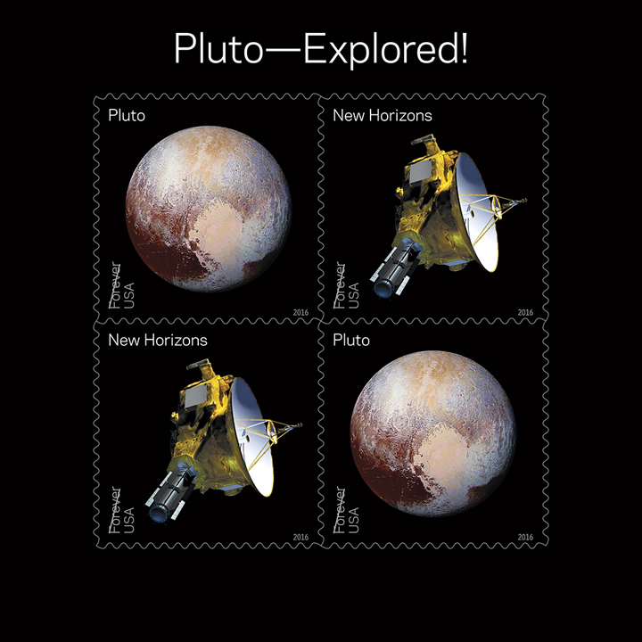 Pluto Explored! In 2006, NASA placed a 29-cent 1991 'Pluto: Not Yet Explored' stamp in the New Horizons spacecraft. In 2015 the spacecraft carried the stamp on its history-making mission to Pluto and beyond. With this stamp, the Postal Service recognizes the first reconnaissance of Pluto in 2015 by NASA's New Horizon mission.