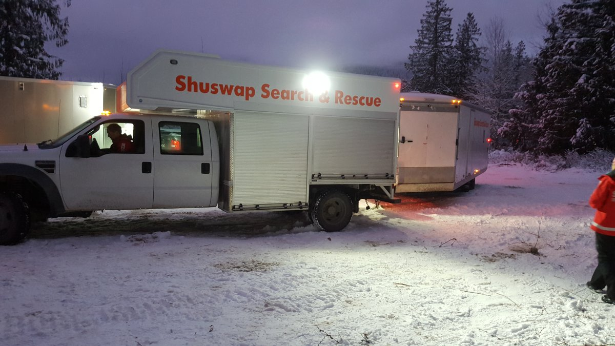 Shuswap Search and Rescue's Gordon Bose drives the groups rapid response vehicle Monday evening.