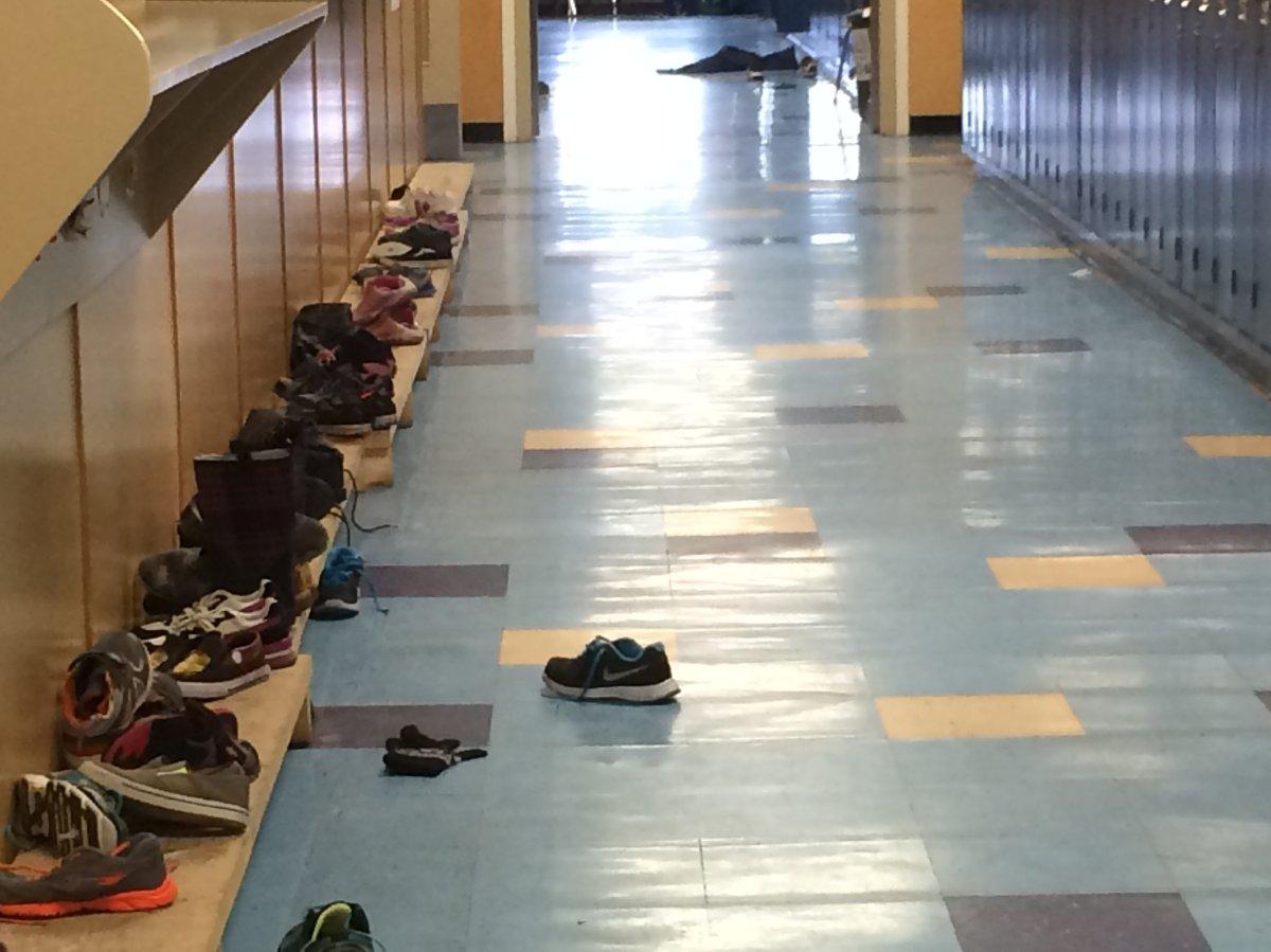 A hallway at St. Catherine Catholic School in Edmonton.