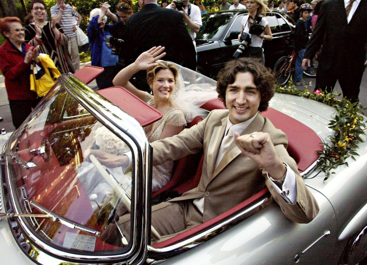 Justin Trudeau and his wife Sophie after their marriage ceremony in Montreal Saturday, May 28, 2005.