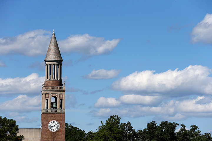 A general view of the Bell Tower on the campus of the University of North Carolina on October 4, 2014 in Chapel Hill.