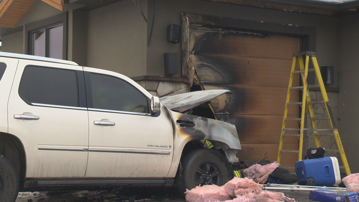 A vehicle fire spread to a home in the 700 block of Kuipers Crescent in Kelowna on Saturday morning.