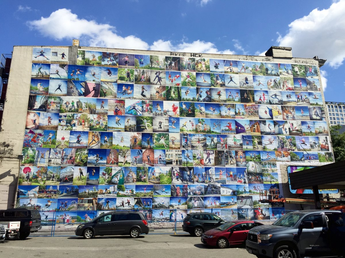 Wall of Joy mural in Vancouver on Pender St. Downtown.