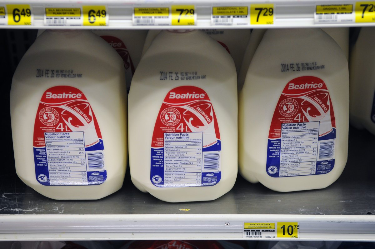 Four litre jugs of milk for sale in the North Mart in Iqaluit, the capital of Nunavut, Canada on February 15, 2014. Expensive groceries contribute to a high cost of living in the north.