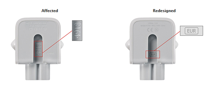 According to the company, the recall includes two-pronged wall plug adapters included with Mac computers and 10-watt adapters included with certain iOS devices between 2003 and 2015.