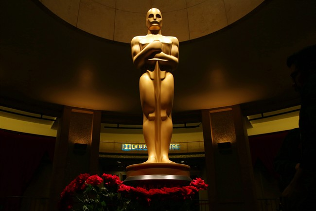 This file photo shows an Oscar statue as preparations are made for the 87th Academy Awards in Los Angeles.