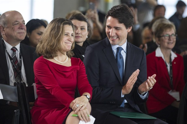 Prime Minister Justin Trudeau sits next to Foreign Affairs Minister Chrystia Freeland, who has taken a key role in the NAFTA renegotiation. The newly agreed upon TPP trade deal could make those negotiations more difficult, new analysis by the federal government has determined.