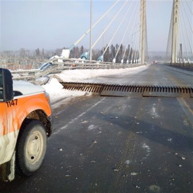 The Ontario Provincial Police posted this photo on Twitter on the damaged Nipigon River Bridge on Sunday, Jan. 10, 2016.