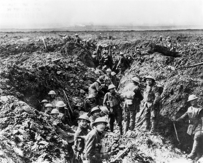 Canadian soldiers man the trenches at Vimy Ridge in 1917 during the First World War. Herbert Hayes was wounded near Vimy in the fall of that year.