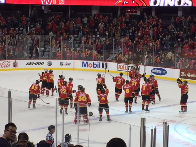 The Calgary Dinos men's hockey team defeats the Mount Royal Cougars 2-1 in double overtime.
