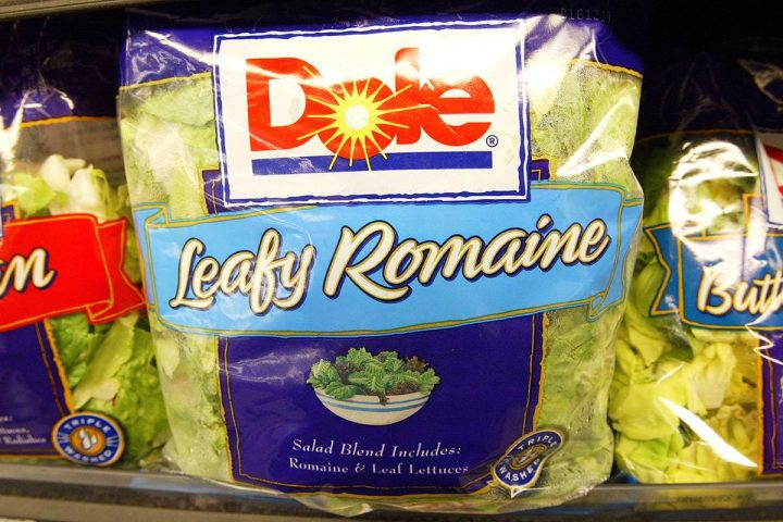 Dole Pre-Packaged salad sits on the shelf at a Bell Market grocery store June 19, 2003 in San Francisco, California.  Packaged salad which was near non-existent a decade ago has become the second fastest selling item on grocery shelves behind bottle water, overall the retail market for bagged salad is $2 billion annually.