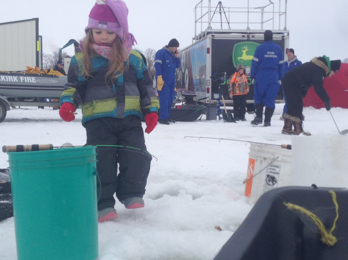 Hundreds participated a charity ice fishing derby near Selkirk.