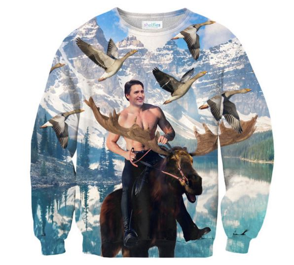 A new sweatshirt by Shelfies, dubbed the Moosin' Trudeau Sweater' showcases Prime Minister Justin Trudeau riding a moose while shirtless.