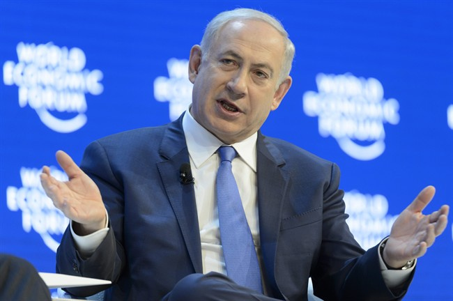 Israeli Prime Minister Benjamin Netanyahu speaks during a panel session at the 46th Annual Meeting of the World Economic Forum, WEF, in Davos, Switzerland, Thursday, Jan. 21, 2016.