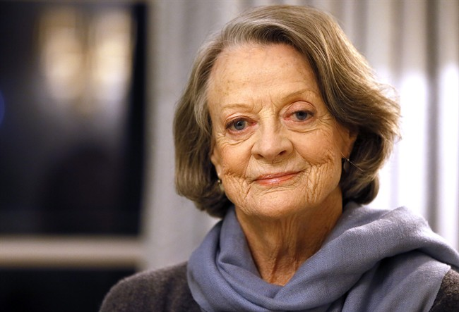 """British actress Dame Maggie Smith in London, Wednesday, Dec. 16, 2015. Smith has shed her """"Downton Abbey""""-era corsets and hats to play an eccentric elderly vagrant in the film """"The Lady in the Van"""", in which Smith plays Miss Shepherd, a real-life homeless woman who parked in the driveway of writer Alan Bennett's London house, and stayed for 15 years."""