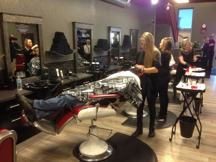 A shave off was held at Tommy Gun's barbershop in south Edmonton Monday, Jan. 4, 2015 ahead of Manuary.