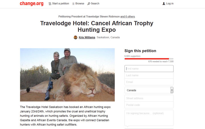 Group trying to stop second Saskatoon hotel from holding hunting safari trade show.