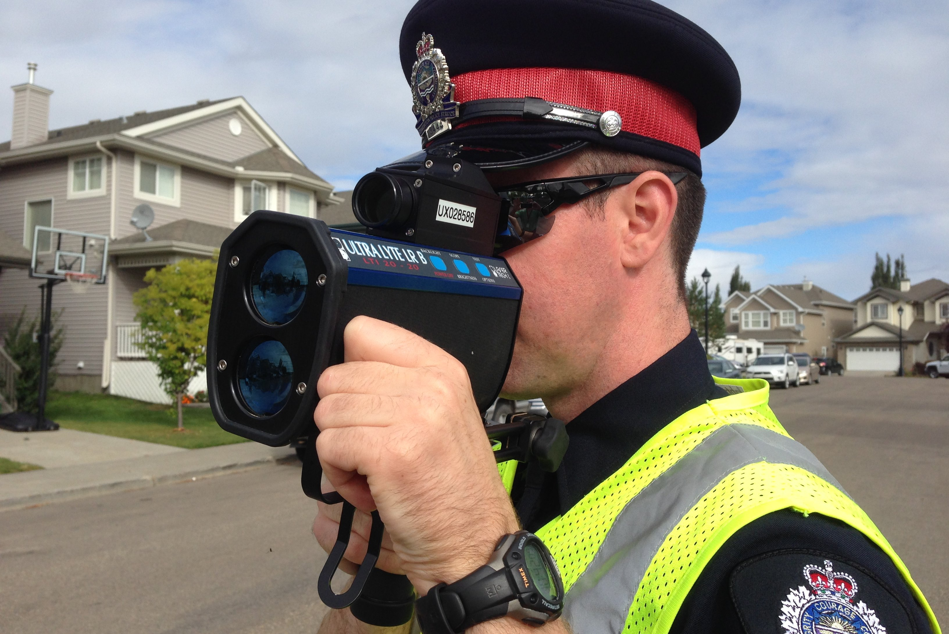 An Edmonton Police Service officer conducting photo radar speed enforcement.