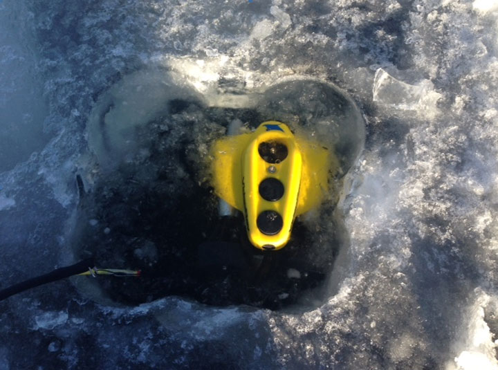 A ROV (remote operated underwater vehicle) continues searching the water of Lac La Ronge for a missing 36-year-old man who's believed to have fallen through the ice.