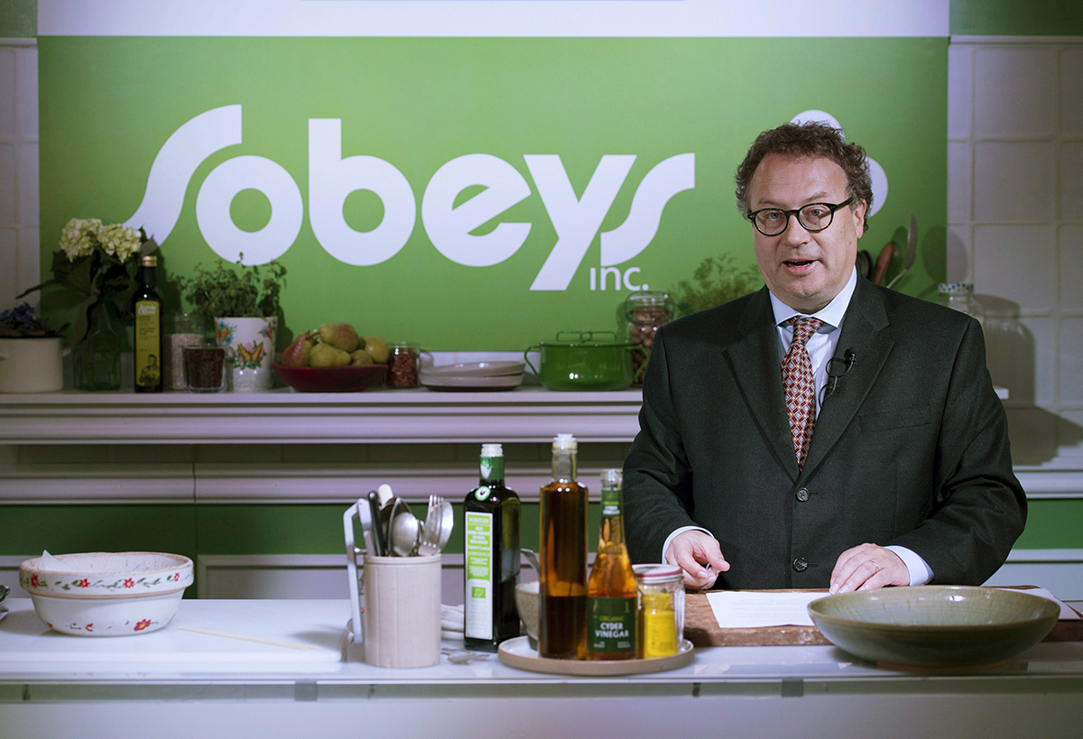 Marc Poulin, chief executive officer and president, Sobeys Inc., speaks during a press conference in Toronto on Wednesday, October 1, 2014.