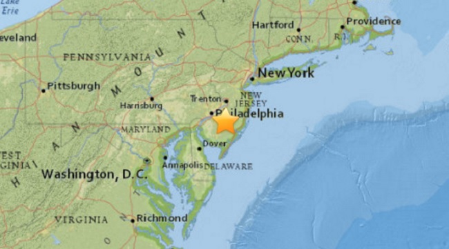 A map on the USGS website showing the area where a sonic boom was first recorded Thursday, Jan. 28, 2015.