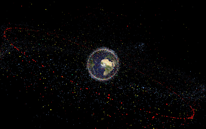 A 2013 graphic of all human-made space objects result from the near-5000 launches since the start of the space age.
