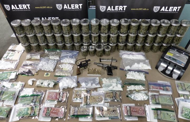 Items seized by ALERT after three residences were searched in Grande Prairie, Alta. Thursday, Jan. 21, 2016.