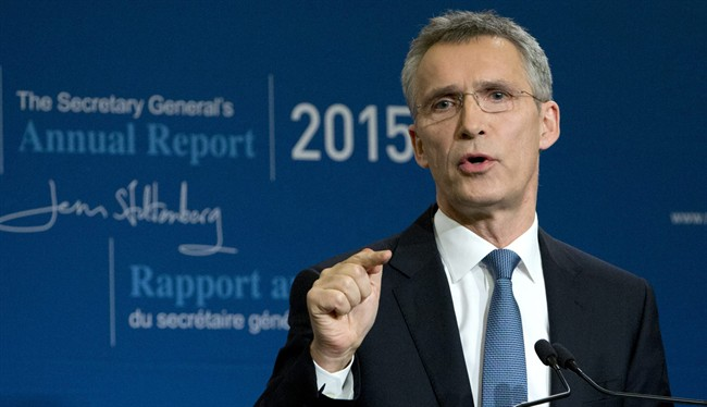 NATO Secretary General Jens Stoltenberg speaks during a media conference as he presents the NATO annual report in Brussels on Thursday, Jan. 28, 2016.