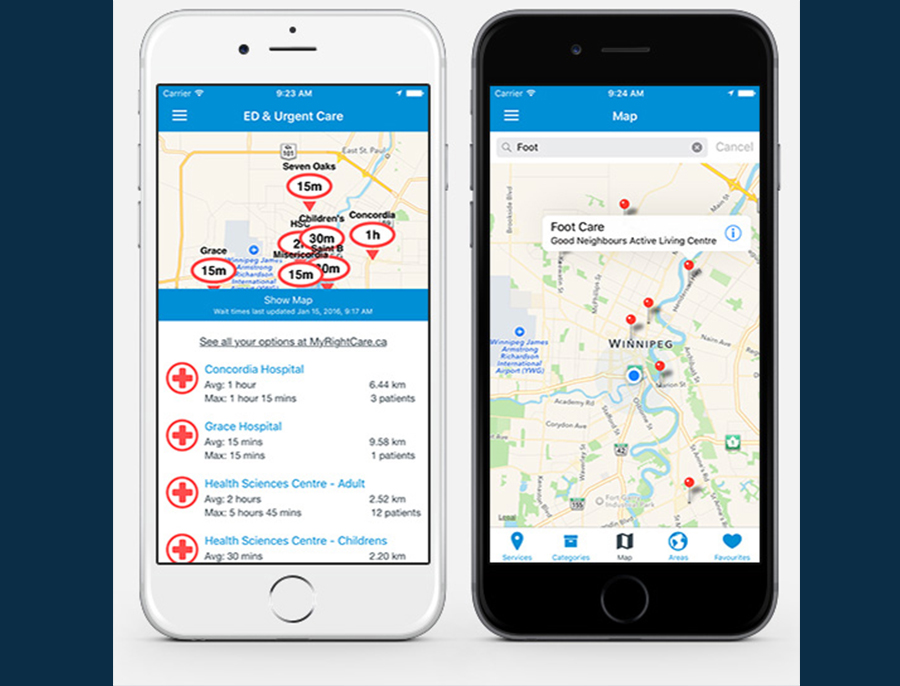 WRHA releases mobile app that allows users to explore emergency room wait times and nearby hospital services.