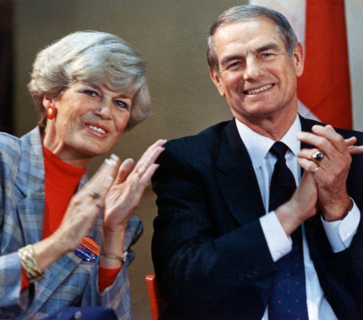 The late Alberta Premier Don Getty and his wife Margaret are greeted warmly at his nomination meeting in Stettler, Alta., Apr. 20, 1989.