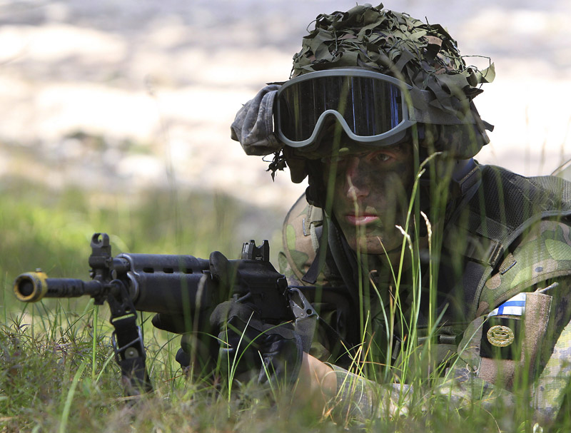 A Finnish soldier participates in NATO exercises in Poland in June of 2015.