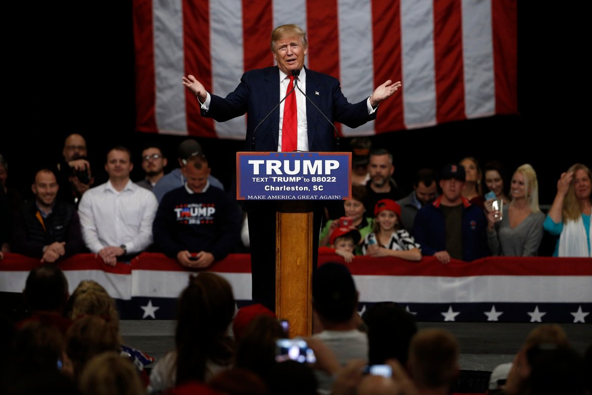 Republican presidential candidate Donald Trump speaks during a campaign stop Friday, Feb. 19, 2016, in North Charleston, S.C.
