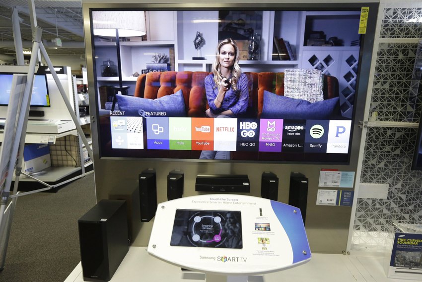 A Samsung Smart TV is displayed for sale in Sacramento, Calif.