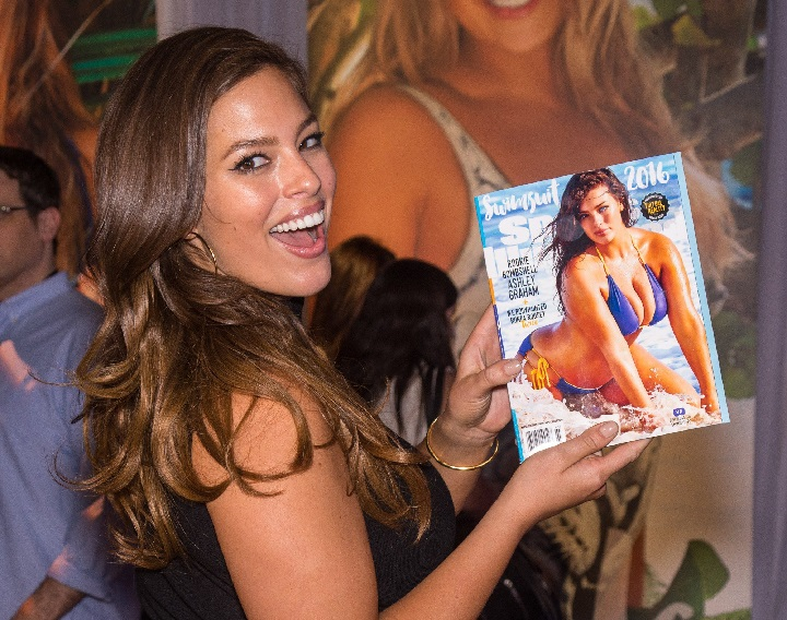 Ashley Graham poses with her upcoming Sports Illustrated cover in New York, NY February 15, 2016.