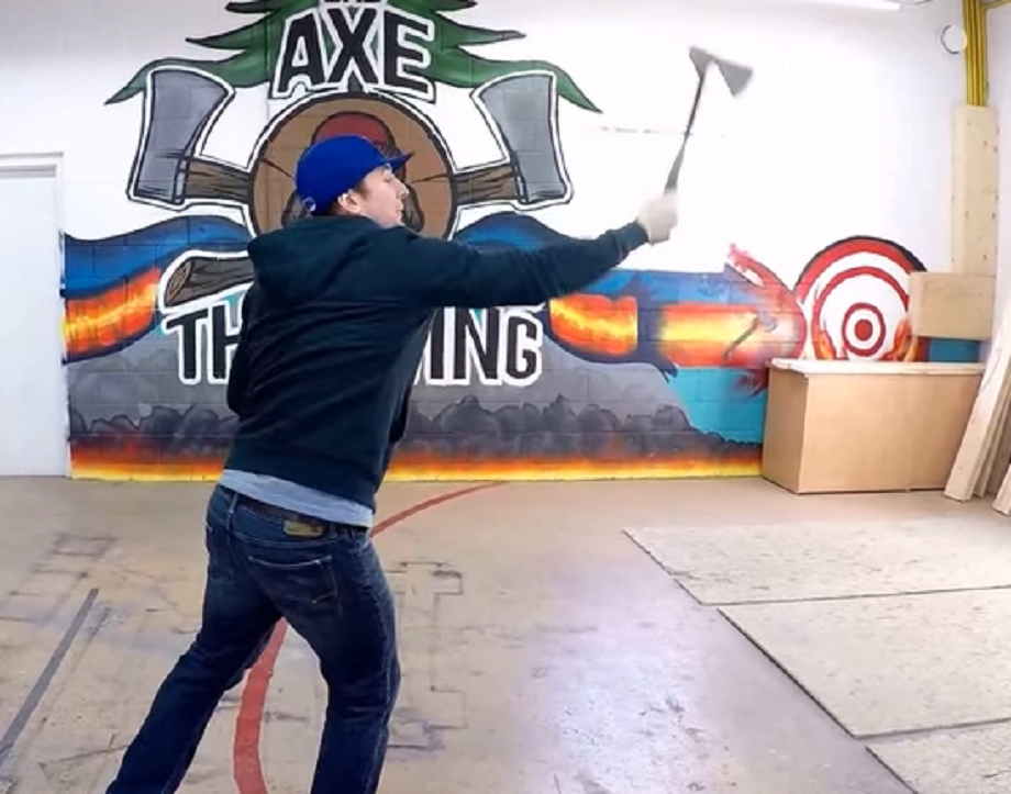 Chief axe thrower gives advance lessons on how to throw an axe. Bad Axe Throwing is opening up a location in Winnipeg in the spring.